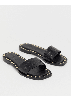 ASOS DESIGN Foxhill premium studded flat leather sandals-Black