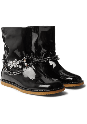 Loewe - Chain-Embellished Patent-Leather Boots - Men - Black