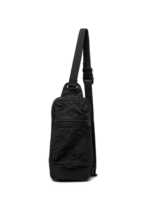 Master-Piece - Rebirth Project Leather-Trimmed Crinkled-Shell and Canvas Sling Backpack - Men - Black