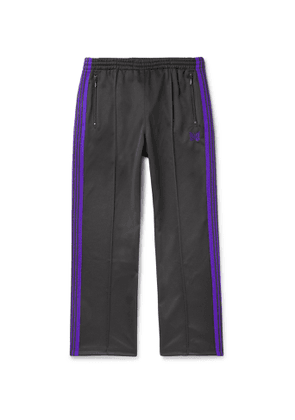 Needles - Logo-Embroidered Webbing-Trimmed Tech-Jersey Track Pants - Men - Gray