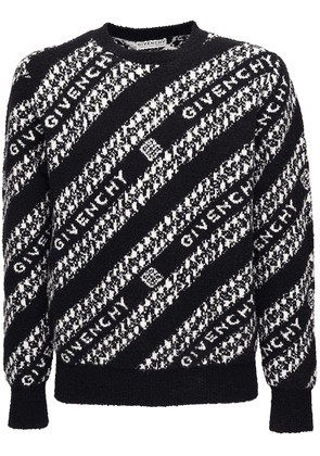 Logo Jacquard Wool Blend Knit Sweater
