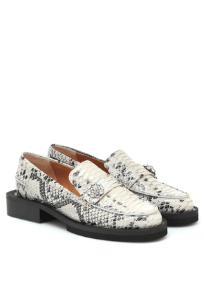 Exclusive to Mytheresa – Snake-effect leather loafers