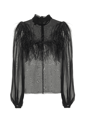 Feather-trimmed silk georgette blouse