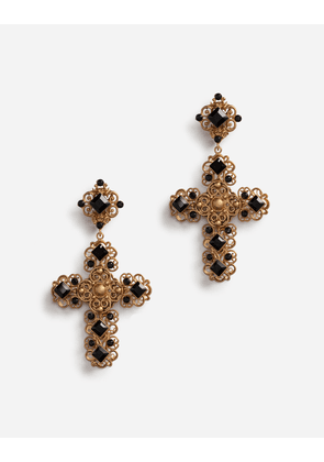 Dolce & Gabbana Bijoux - CLIP-ON DROP EARRINGS WITH CROSSES GOLD