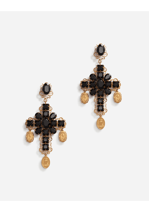 Dolce & Gabbana Bijoux - CLIP-ON DROP EARRINGS WITH CROSSES AND MEDALLIONS BLACK/GOLD