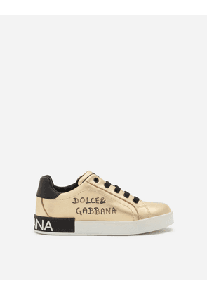 Dolce & Gabbana Shoes (24-38) - LAMINATED LAMBSKIN PORTOFINO CUSTOM SNEAKERS WITH LOGO PRINT GOLD/BLACK