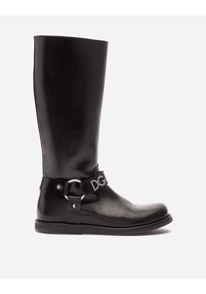 Dolce & Gabbana Shoes (24-38) - CALFSKIN RIDING BOOTS WITH DG LETTERING BLACK