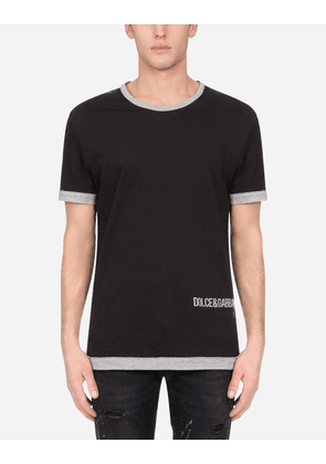 Dolce & Gabbana T-Shirts and Polos - Two-tone cotton t-shirt with DG logo print BLACK male 44