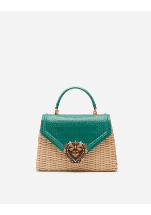 Dolce & Gabbana Collection - MEDIUM DEVOTION BAG IN WICKER AND POLISHED ALLIGATOR AQUAMARINE