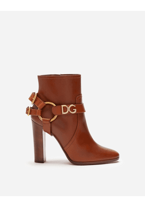 Dolce & Gabbana Boots and Booties - ANKLE BOOTS IN COWHIDE WITH DG BRACKET LOGO BROWN
