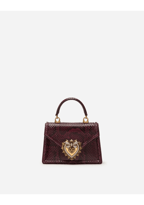 Dolce & Gabbana Collection - SMALL DEVOTION BAG IN PYTHON SKIN BURGUNDY