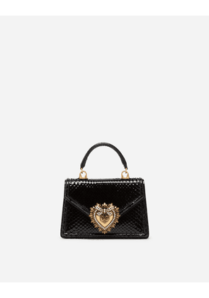 Dolce & Gabbana Collection - SMALL DEVOTION BAG IN PYTHON SKIN BLACK