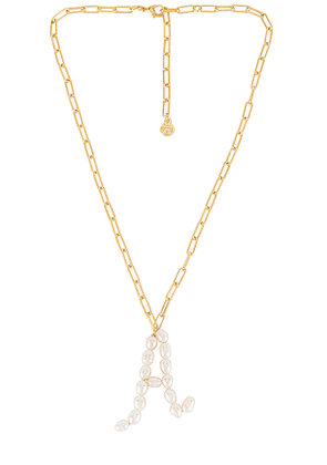 BaubleBar Blair Hera Pearl Initial Pendant Necklace in Metallic Gold. Size F,H,I,O,P,R.