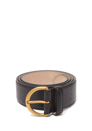 Gucci - Metal Bee Detail Grained-leather Belt - Mens - Black