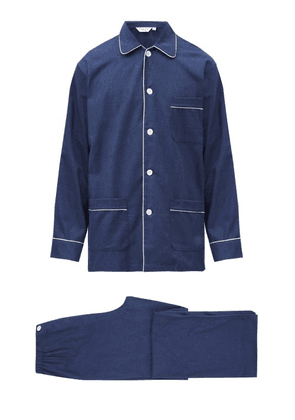 Derek Rose - Balmoral Brushed-cotton Pyjama Set - Mens - Navy