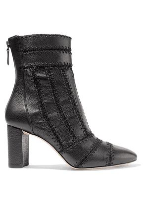 Alexandre Birman Beatrice Whipstitched Textured-leather Ankle Boots Woman Black Size 36.5