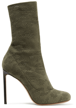Francesco Russo Leather-trimmed Open-knit Boots Woman Army green Size 35.5
