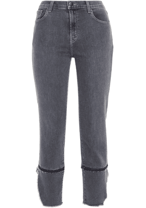 J Brand Ruby Cropped Frayed High-rise Skinny Jeans Woman Anthracite Size 31