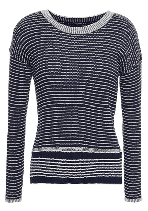 James Perse Striped Ribbed Wool-blend Sweater Woman Navy Size 1