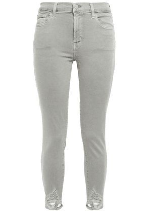 J Brand Cropped Distressed Mid-rise Skinny Jeans Woman Sage green Size 29