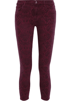 J Brand 835 Cropped Mid-rise Skinny Jeans Woman Burgundy Size 25