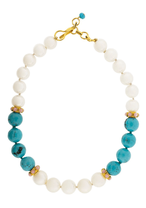 Bounkit Jewelry turquoise and pearl necklace - Blue