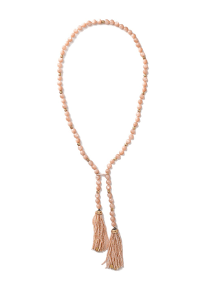 GUITA M 18kt yellow gold, peach moonstone and pearl necklace - PINK