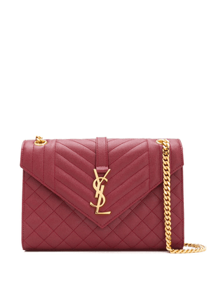 Saint Laurent quilted logo plaque crossbody bag - Red