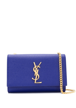 Saint Laurent logo plaque crossbody bag - Blue