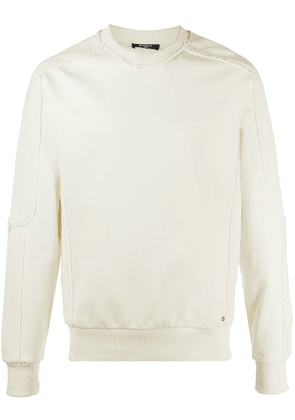 Balmain frayed-edge cotton sweatshirt - Neutrals