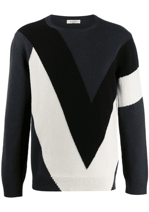 Valentino knitted colour block jumper - Black