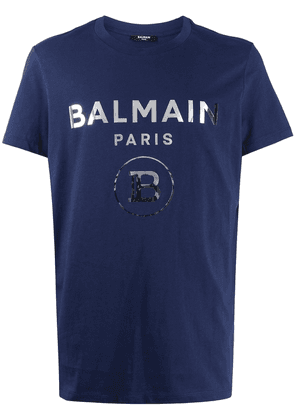 Balmain logo print cotton T-shirt - Blue