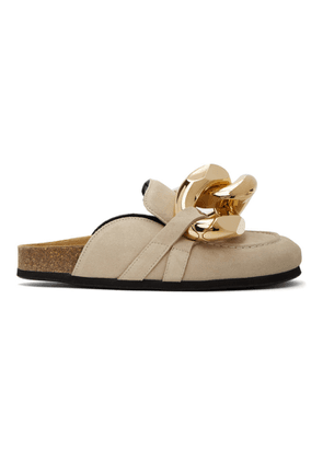 JW Anderson Beige Suede Curb Chain Slippers