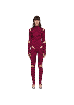 Paolina Russo SSENSE Exclusive Pink and Black Illusion Knit Point Catsuit