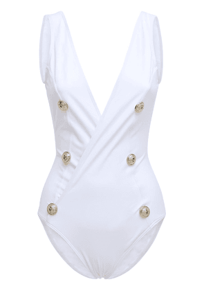 Buttoned One Piece Swimsuit W/ Low Back