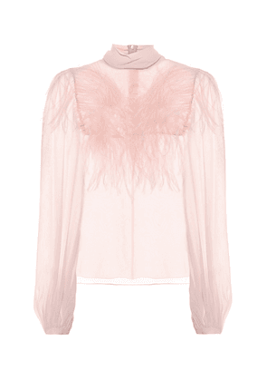 Feather-trimmed silk blouse