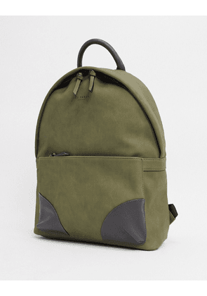 Ted Baker graveet nubuck backpack in olive-Green