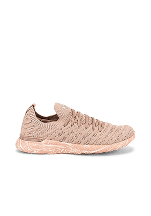 APL: Athletic Propulsion Labs TechLoom Wave Sneaker in Rose,Beige. Size 6.5,7,7.5,8,8.5,9,9.5.