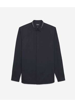 The Kooples - Black cotton shirt with inlaid zip - MEN