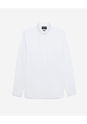 The Kooples - White cotton shirt with inlaid zip - MEN