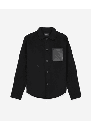The Kooples - Black wool shirt with leather pocket - MEN