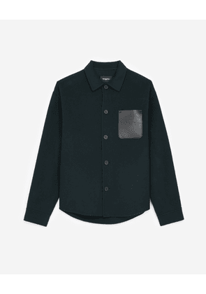 The Kooples - Bottle green shirt with leather pocket - MEN