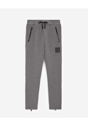 The Kooples - Zipped grey joggers with trims and logo - MEN
