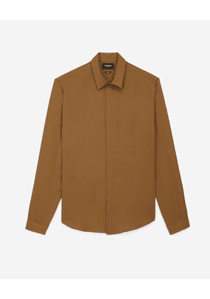The Kooples - Flowing satin-effect khaki shirt - MEN