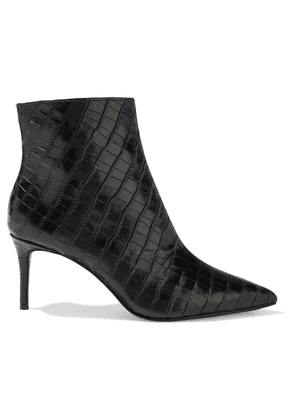 Alice + Olivia Frema Croc-effect Leather Ankle Boots Woman Black Size 36
