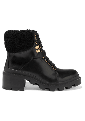 Alice + Olivia Hettie Shearling-trimmed Leather Ankle Boots Woman Black Size 36