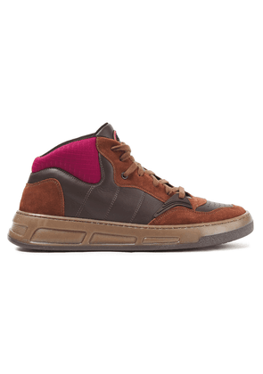 Ganni Quilted Neoprene, Leather And Suede Sneakers Woman Brown Size 36