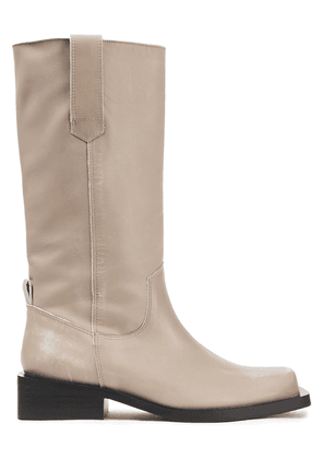 Ganni Distressed Leather Boots Woman Neutral Size 36