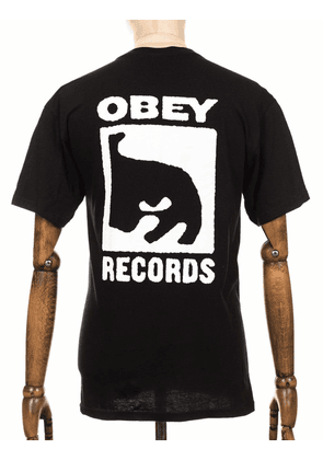 Obey Clothing Records Icon Tee - Black Size: Small, Colour: Black