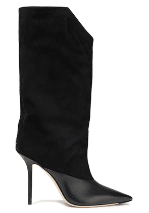 Jimmy Choo Bryndis 100 Leather And Suede Knee Boots Woman Black Size 36